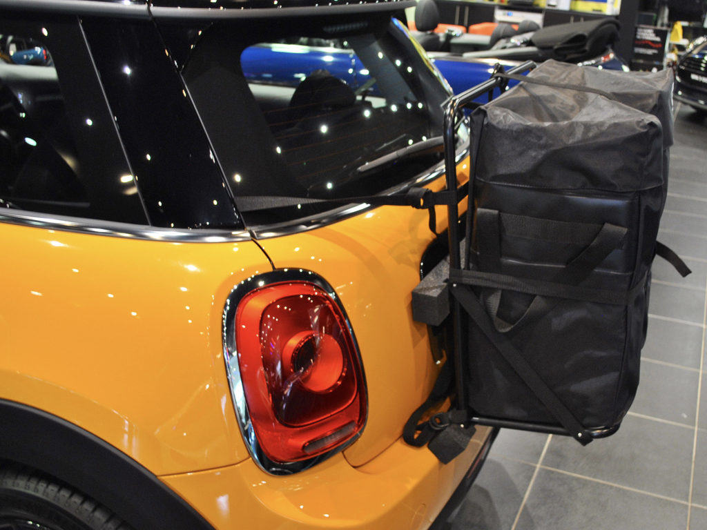 mini cooper roof box alternative hatch-bag fitted to a yellow mini cooper at mini Milton Keynes