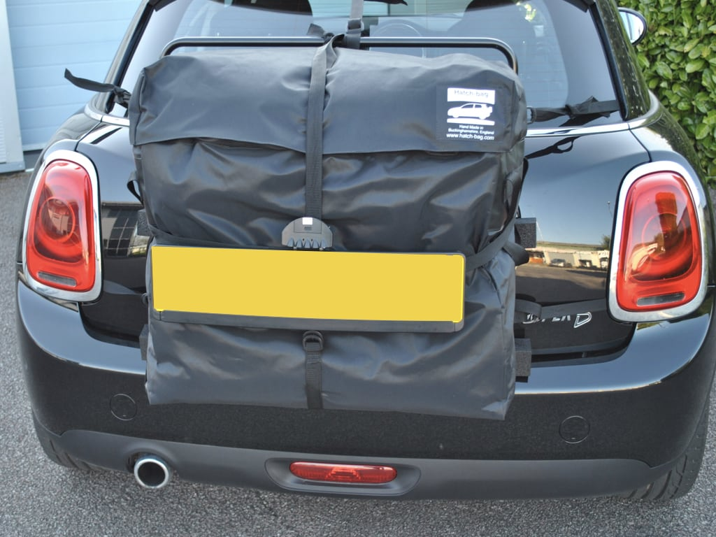 rear view of the hatchbag mini roof box or rack alternative fitted to a 5 door mini cooper