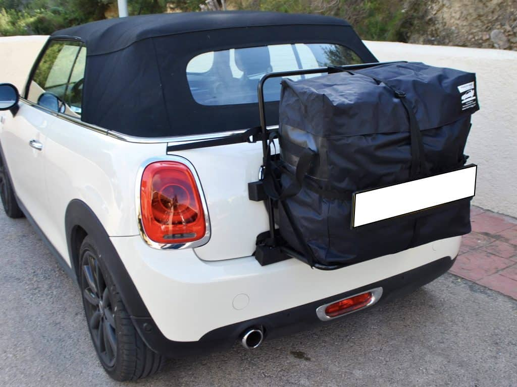hatchbag luggage carrier /roof box system for mini convertible fitted to a white mini cabriolet